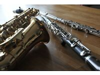 Flute, Clarinet and Saxophone Lessons available