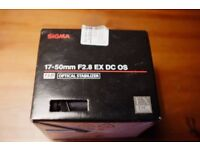 Sigma EX Zoom Lens for Canon EF - 17-50mm - F/2.8 + filters