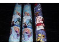NEW 3 ROLLS OF CHILDREN'S CHRISTMAS PAPER FROZEN X 2 + BIG HERO 6 X 1