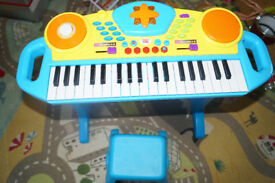 Kids Children Toy Keyboard Piano with Stool and Microphone Musical Record