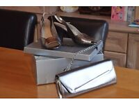 Gabor Shoes Pewter Leather Shoes ( Size 5 1/2) & Matching Handbag