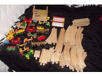 """LARGE SELECTION OF """"BRIO"""" WOODEN TRAIN TRACK, TRAINS + OTHER PIECES"""
