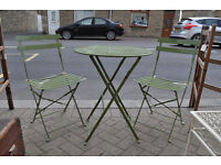 outdoor bistro set table and two chairs