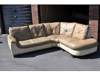 Cream Beidge Leather corner sofa suite settee U shaped