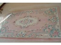 Woolen, Chinese rug, pink and cream