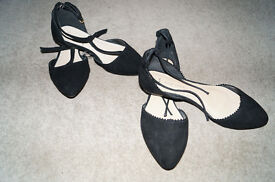 Lovelly 2 Pairs of Black Suede Wide Fit Sandals Very Nice Looking Size 4.