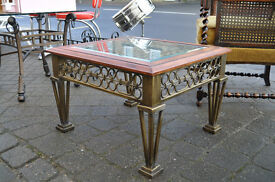 metal framed glass top lamp table