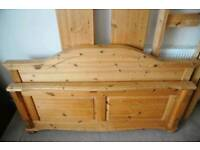 Double pine bed with mattress and tv unit