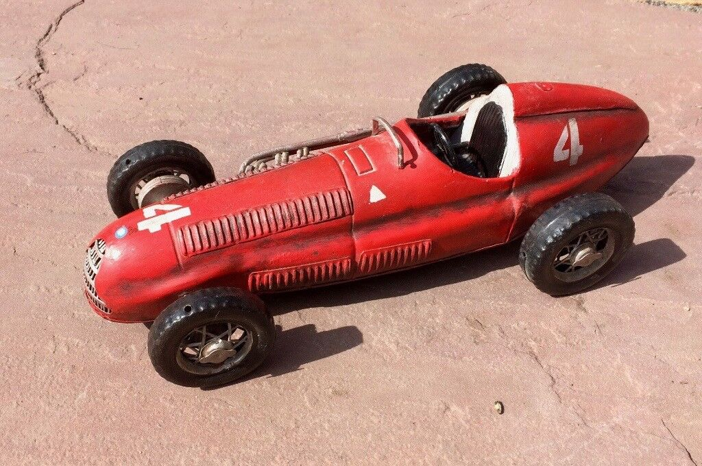 Classic Vintage Style Tin Car - Red Racing Car No. 4 - Display ...