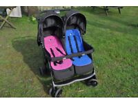 Joie Aire double buggy, blue and pink twin pushchair