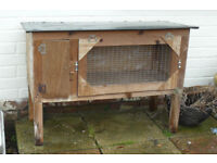 WOODEN SMALL ANIMAL / RABBIT HUTCH. WATERPROOFED ROOF. ALL CATCHES WORKING