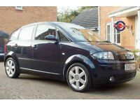 AUDI A2 Blue, Full Leather Interior, 2002, 1.4 Petrol, 12 month MOT, Low Miles, Lovely specification