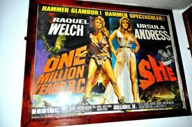 ORIGINAL MOVIE POSTER OF SHE/1 MILLION YEARS BC THIS IS A POSTER FROM HAMMER FILMS AND IS ORIGINAL