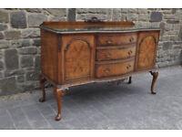 vintage walnut burr bow fronted sideboard dresser