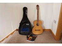 Classical Acoustic Guitar (as new) with cover, clip-on digital auto tuner & Manual with 2 CDs