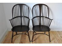 Set of 2 Vintage retro Ercol Chairmakers fireside armchairs Traditional Finish