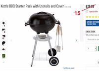 Barbecue with cover and all utensils.