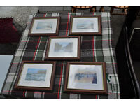 set of 5 local north east prints ivan lindsay