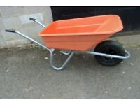 WHEELBARROW ORANGE PLASTIC TUB GALVANISED FRAME