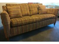Duresta designer sofa - 2.5 seats George Medium in red/gold/green stripes with 2 matching cushions