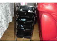 STAINLESS STEEL STAND WITH 4 BLACK PULL OUT DRAWERS USED FOR HAIRDRESSING/BEAUTY SALON WORK