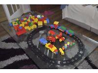 Lego blocks plus train set.