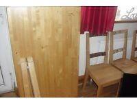 """""""IKEA"""" PINE TABLE + 4 CHAIRS TABLE IS 47"""" LENGTH 30"""" WIDTH"""