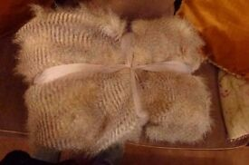 Unwanted gift. Brand new unused luxury large faux fur throw for sofa or single bed cover