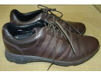 ADIDAS DARK BROWN GOLF SHOES, SIZE 8.5 / 9, ONLY WORN ONCE