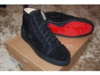CHRISTIAN LOUBOUTINS ORLATO FLAT SPIKES SUEDE BLACK SIZE 9