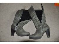 Women Shoes size 35 UK 3 Thigh High Boots dark green/grey