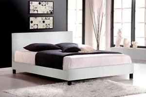 NEW! Faux Leather Platform Bed in White or Espresso! Same Day Pickup In Kamloops!