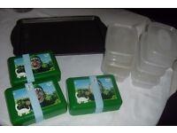 SELECTION OF FOOD STORAGE BOX'S + KIDS SANDWICH BOX'S + LARGE BAKING TRAY