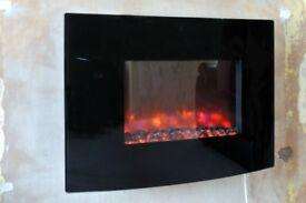 Electric Fire Wall Hung Black Gloss