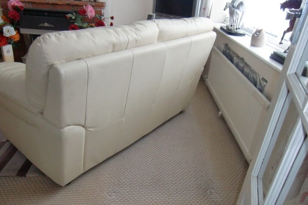 Two Seater Sofa Cream Leather Hardly Used In
