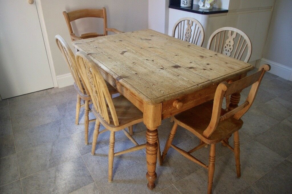 Genuine Antique Farmhouse Pine Table And 6 Chairs In Epsom