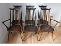 Set of 6 vintage retro 60's Ercol ercol Goldsmith Chairs including 2 carvers