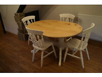 PINE DINING TABLE & 4 FIDDLE BACK CHAIRS FARMHOUSE SHABBY CHIC ANNIE SLOAN XX DELIVERY POSSIBLE XX
