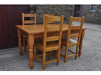 5ft solid pine farmhouse kitchen table and 4 chairs
