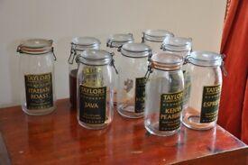 "9 3 litre ""Kilner""-type preserving jars"