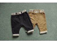 2 x NEXT baby boy trousers 0-3 months