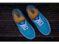 vans authentic classic shoes light blue new size uk 8