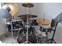 Premier Cabria 5 Piece Drum Kit, Sabian cymbals, Mutes, Mesh Heads, GREAT CONDITION