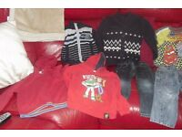 AGE 2-3 YEARS SELECTION OF BOYS CLOTHES JEANS, CARDIGAN, HOODIE, T-SHIRTS