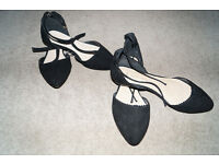 2 Pairs of Black Suede Wide Fit Sandals Very Nice Looking Size 4.