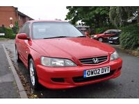 Red Honda Accord, 2002, 5 door Saloon, *Long MOT*