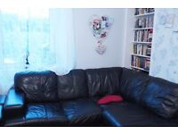 Next Black Leather L-shape sofa/armchair/storage footstool suite, decent condition!