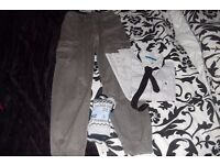 AGE 12-13 YEARS PAIR BOYS TROUSERS DARK BROWN, WHITE SHIRT WITH TIE + SOCKS