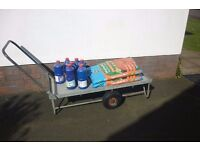 flatbed hand trolley with pneumatic tyres