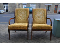pair of regency reproduction library chairs